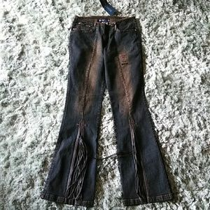 Brand new bell bottom with slit and tassels